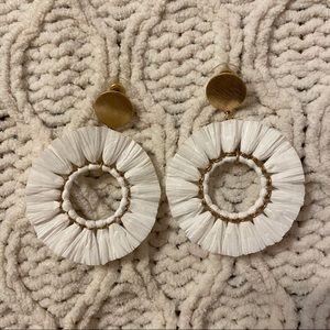 White straw hoop earrings
